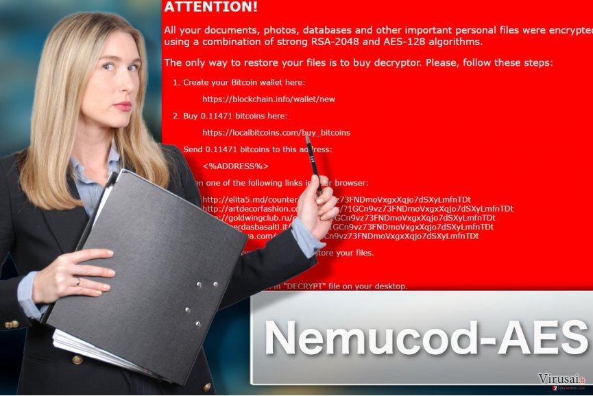 Nemucod-AES virusą iliustruojanti nuotrauka