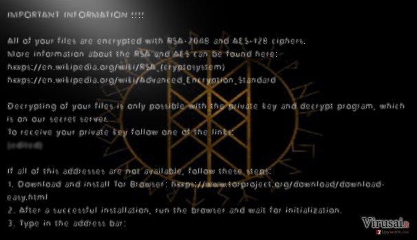ODIN ransomware viruso pavyzdys