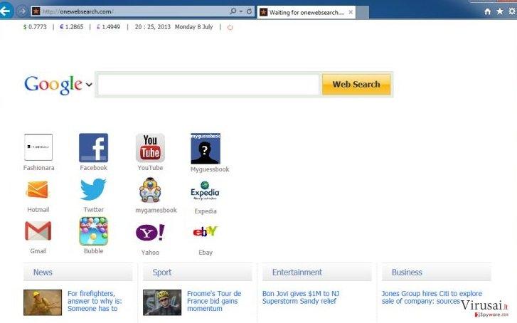 OneWebSearch ekrano nuotrauka