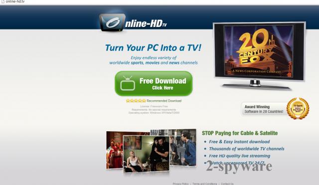 Online HD TV ekrano nuotrauka