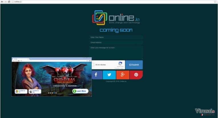 Online.io virusas pateikia daug reklamų