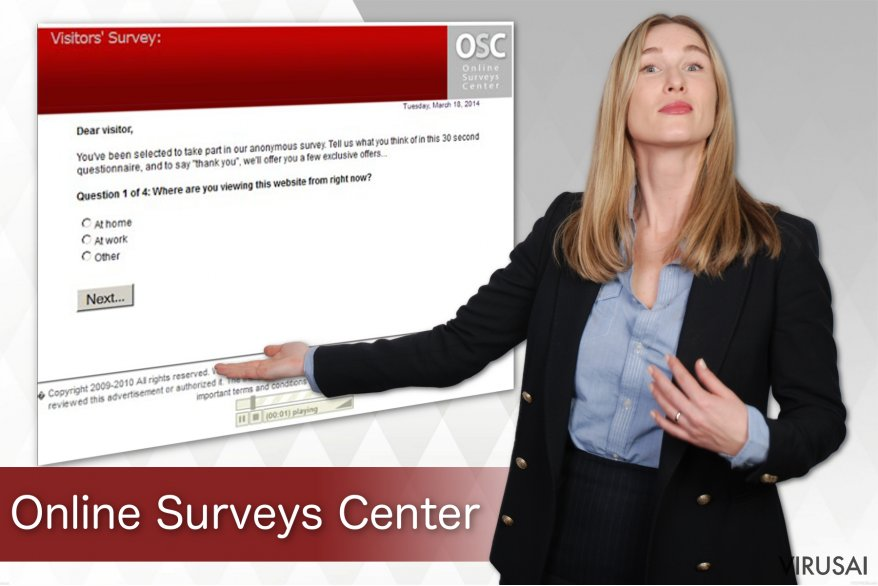 Online Surveys Center virusas ekrano nuotrauka