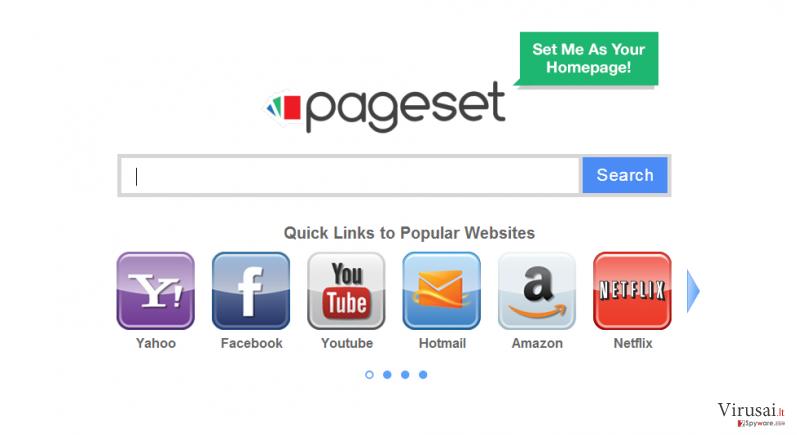 Pageset.com virusas ekrano nuotrauka