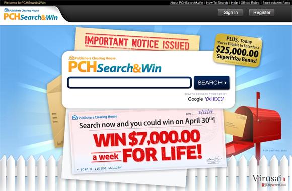 PCH Search ekrano nuotrauka