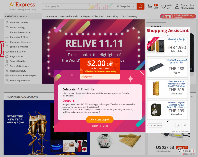 Displaying DNS Unlocker Version 1.4 ads that emerge while visiting online shop