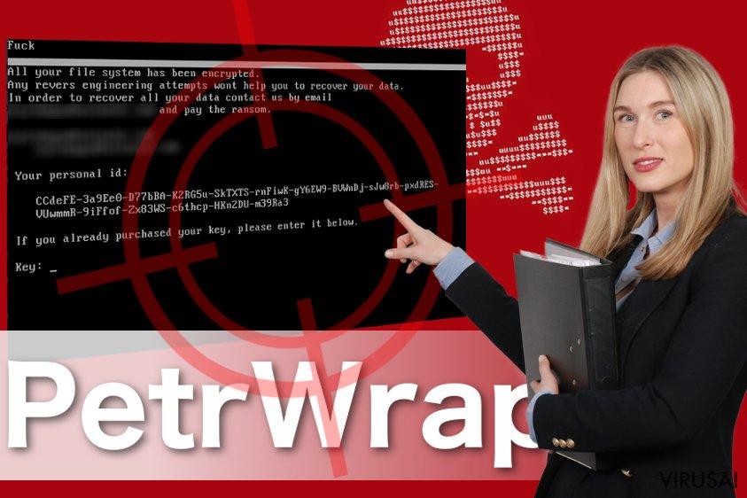 PetrWrap virusas ekrano nuotrauka