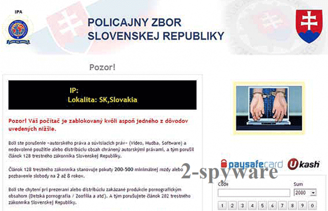 Policajny Zbor virus ekrano nuotrauka