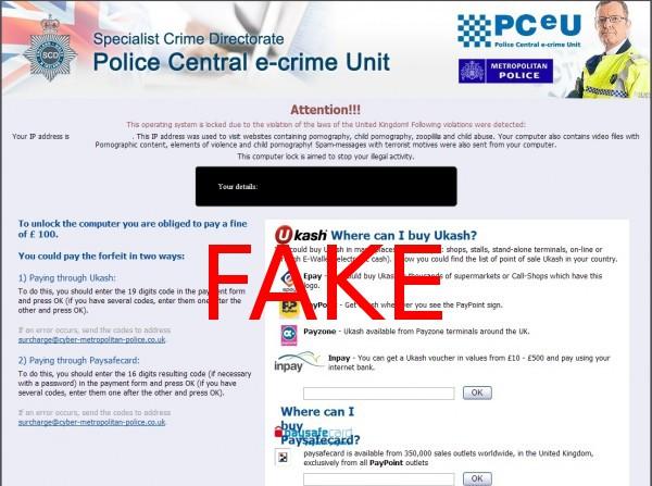 Police Central e-crime Unit virusas ekrano nuotrauka