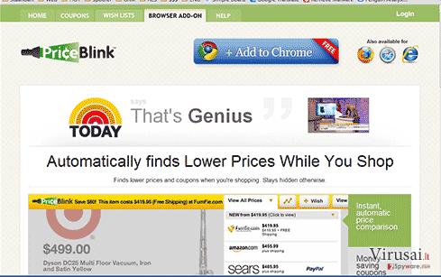 Priceblink virusas ekrano nuotrauka