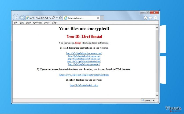 Princess Locker virusas ekrano nuotrauka
