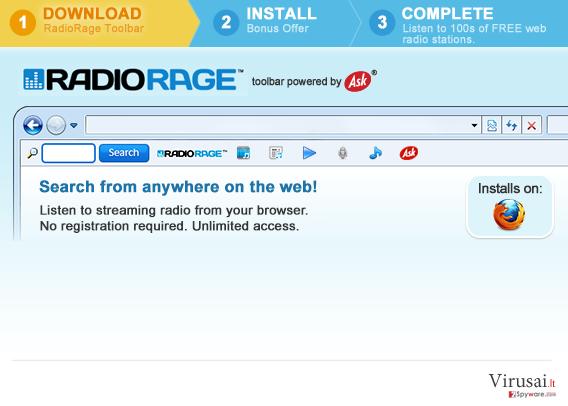 RadioRage įrankių juosta ekrano nuotrauka