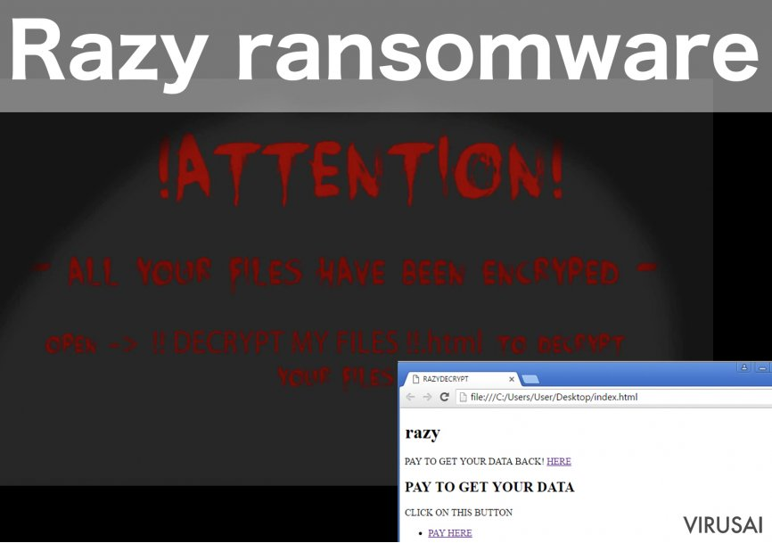 Razy ransomware viruso pavyzdys
