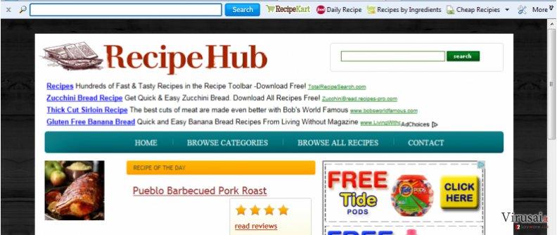 RecipeHub įrankių juosta ekrano nuotrauka