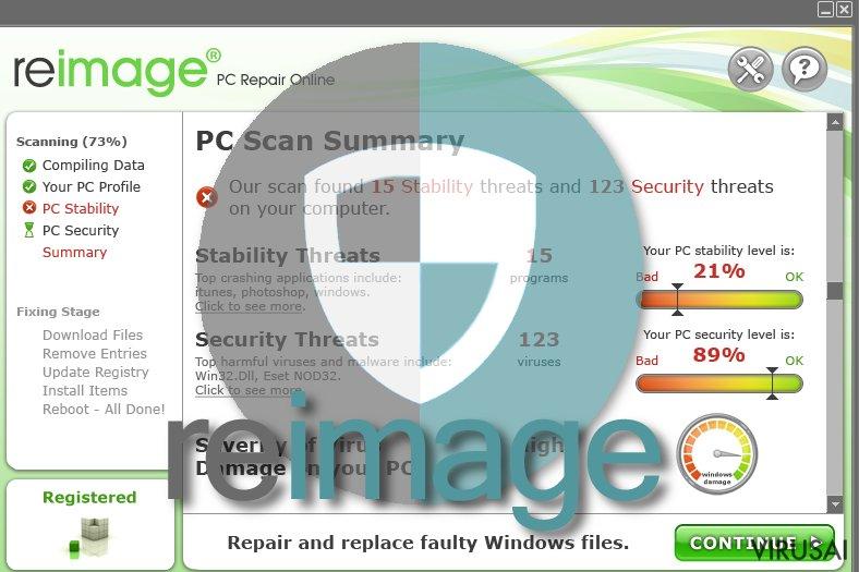 Reimage virusas ekrano nuotrauka