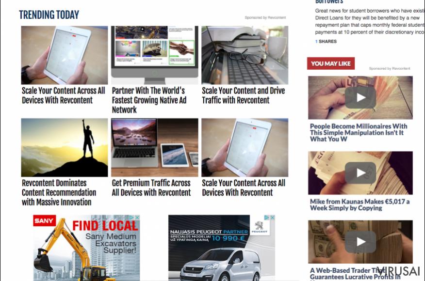 RevContent reklaminiai pranešimai trečiųjų šalių tinklalapiuose.