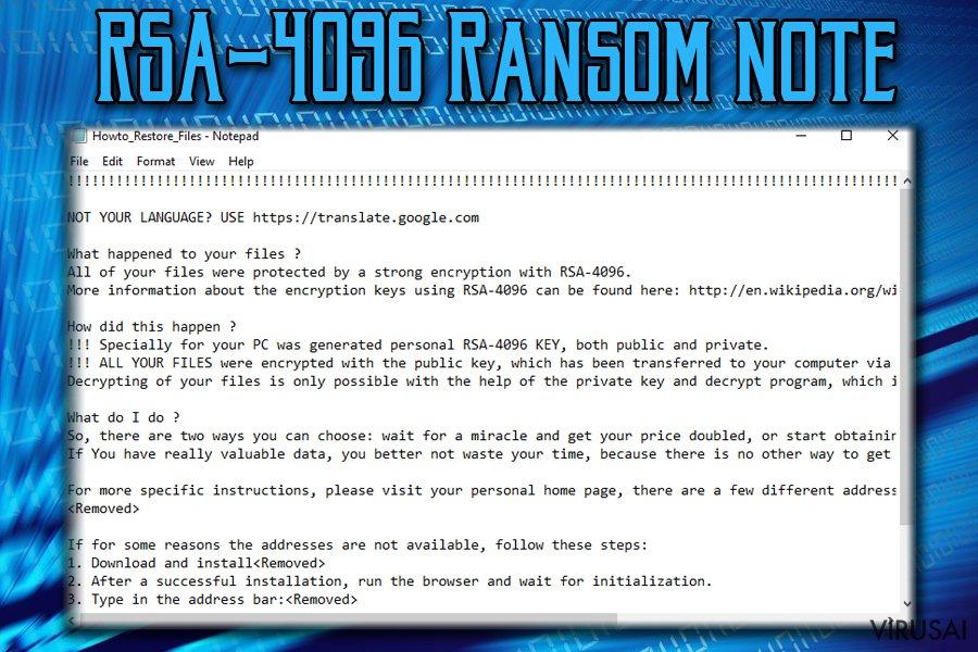 RSA-4096 viruso pranešimas