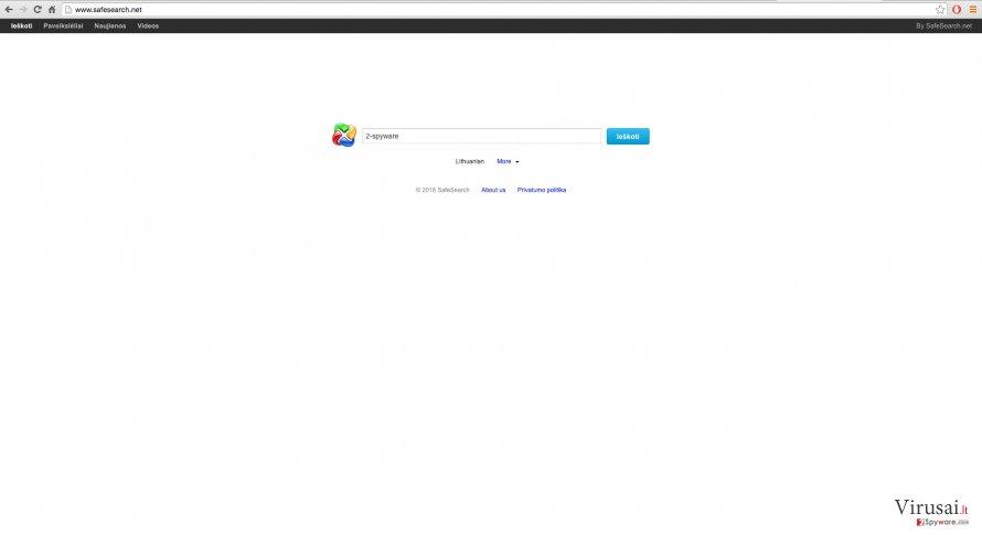 SafeSearch.net naršyklės peradresavimas