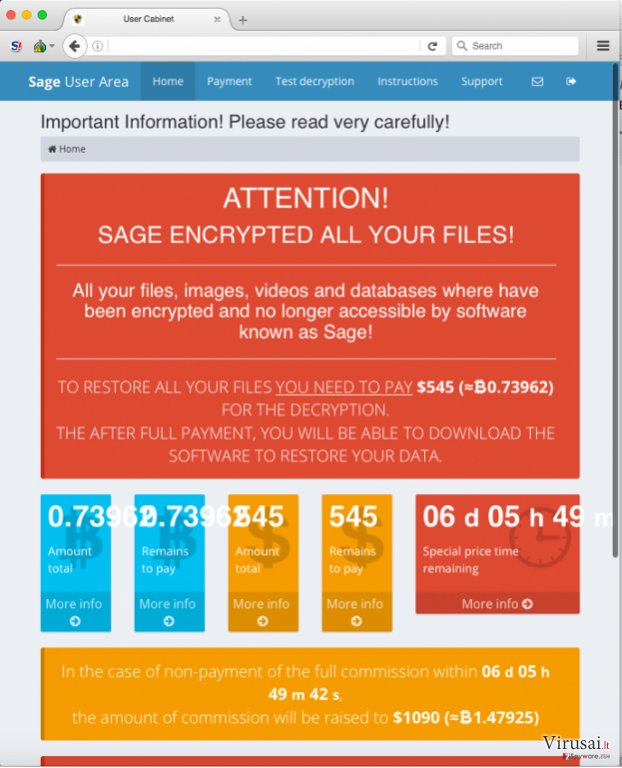 Sage virusas ekrano nuotrauka