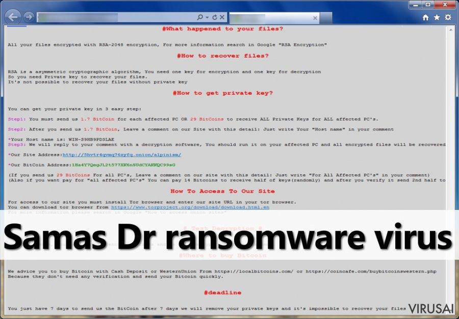 Samas virusas - tai pavojinga failus užkoduojanti programa
