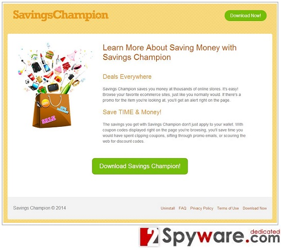 Savings Champion reklamos ekrano nuotrauka