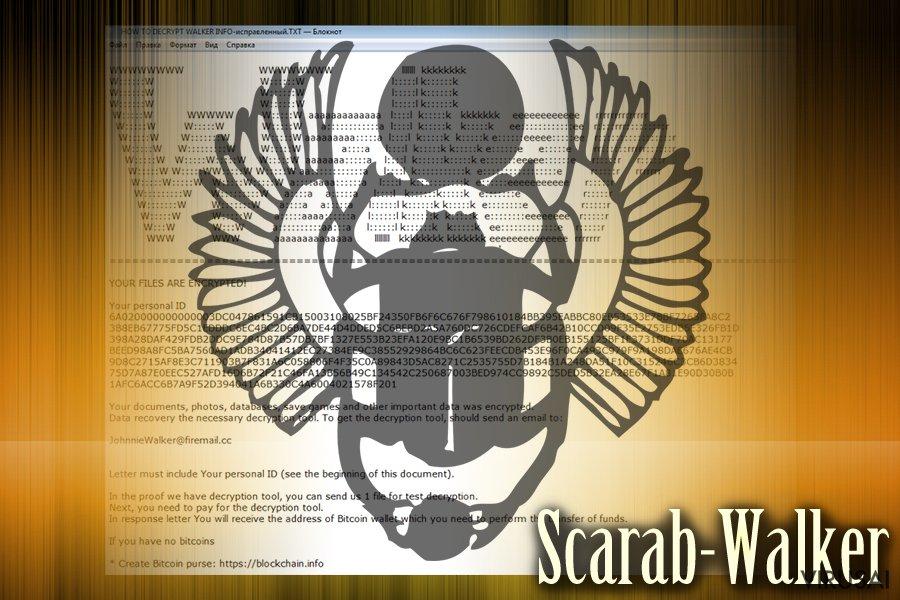Scarab virusas ekrano nuotrauka
