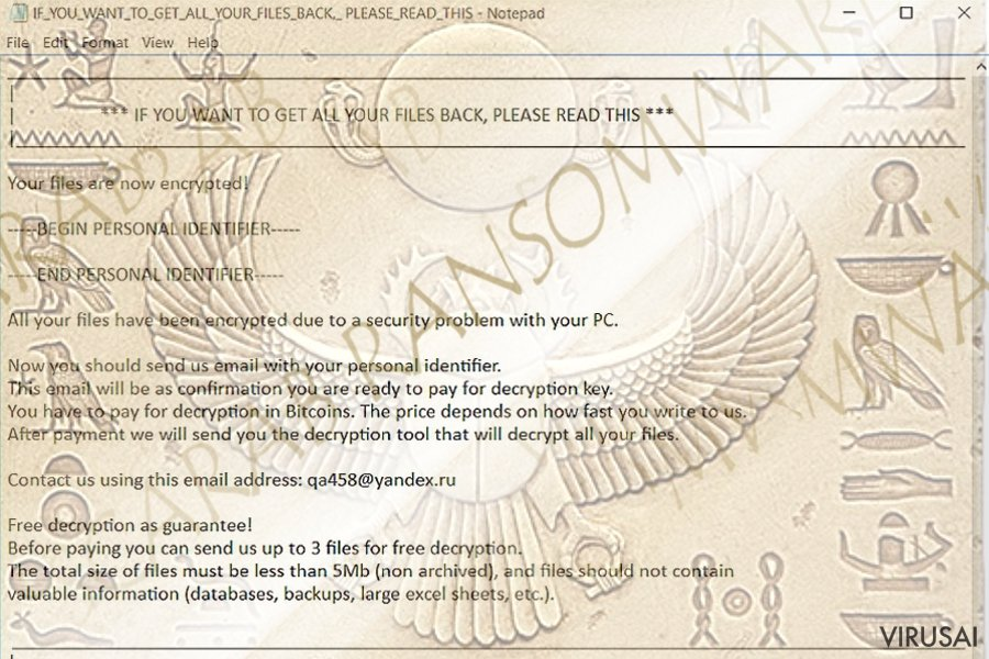 Scarab viruso pateiktas išpirkos raštelis