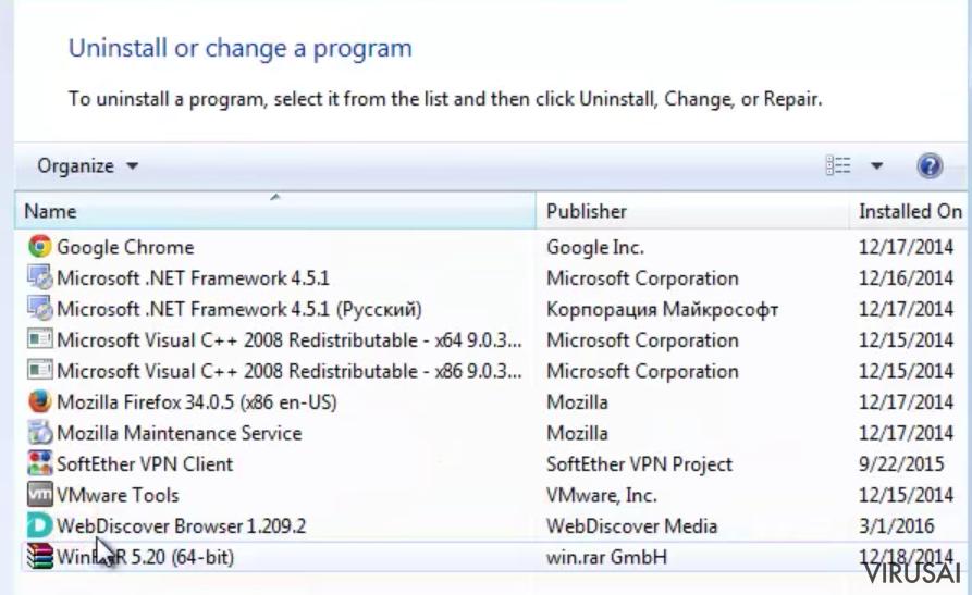 WebDiscover Browser ekrano nuotrauka