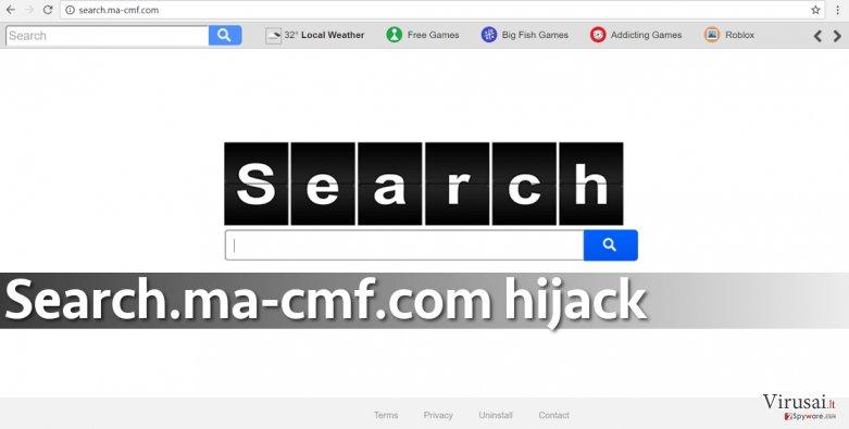 Search.ma-cmf.com virusas pakeičia numatytąją paieškos sistemą