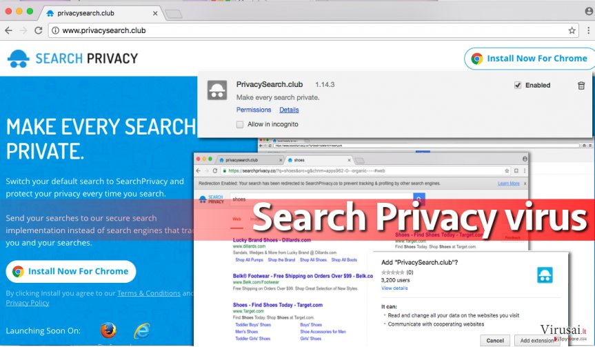 Search Privacy viruso pavyzdys