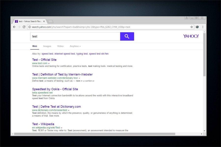 Yahoo Search ekrano nuotrauka