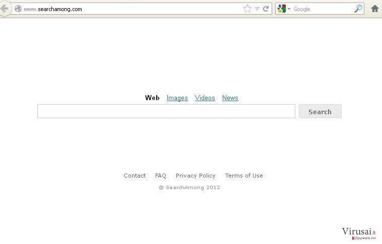 SearchAmong.com virus ekrano nuotrauka