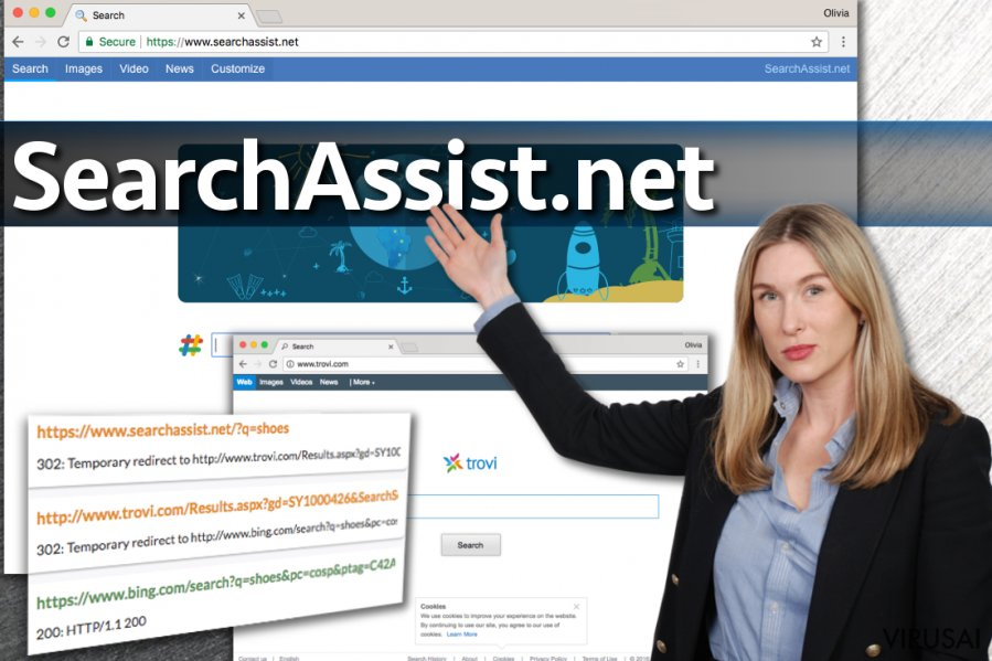 SearchAssist.net viruso pavyzdys