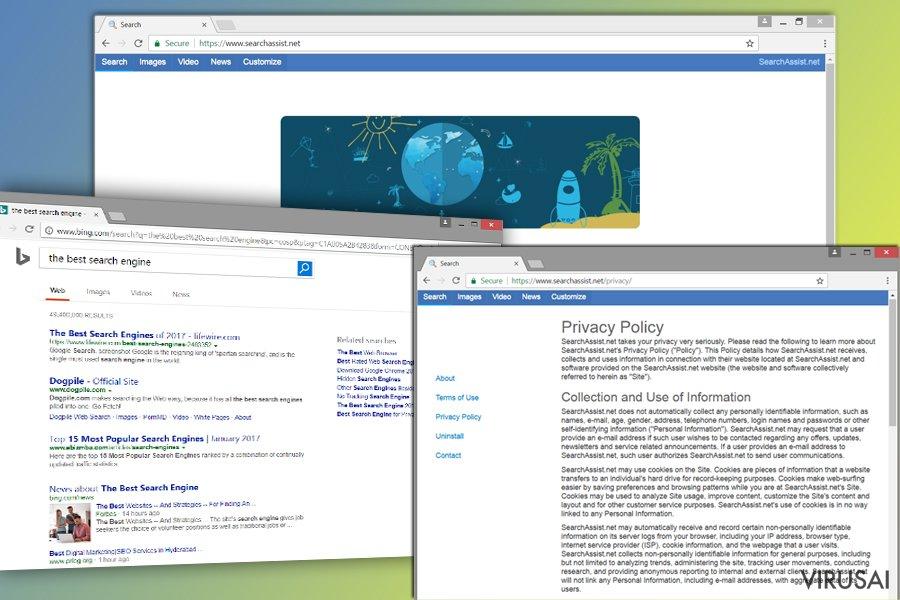 SearchAssist.net paieškos sistema