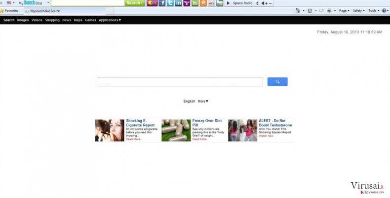 Start.mysearchdial.com redirect ekrano nuotrauka