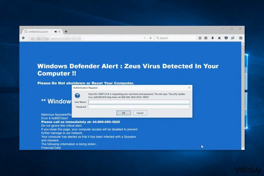 Zeus viruso sistemos saugumo įspėjimo langas