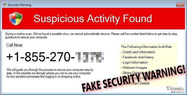 Security Warning (Fake) scam