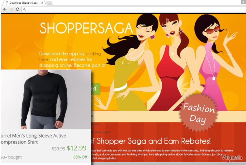 ShopperSaga viruso pavyzdys