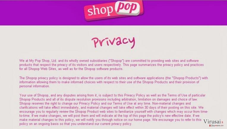 Shopop virusas ekrano nuotrauka