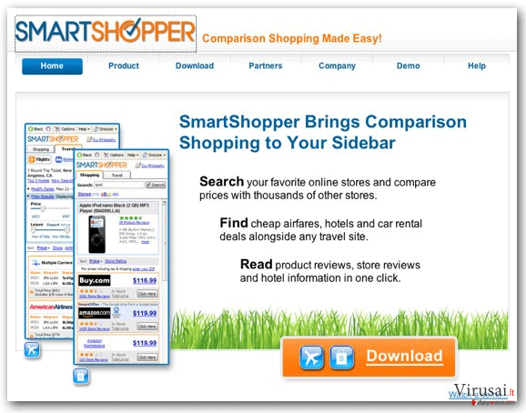 'Ads by SmartShopper' virusas ekrano nuotrauka
