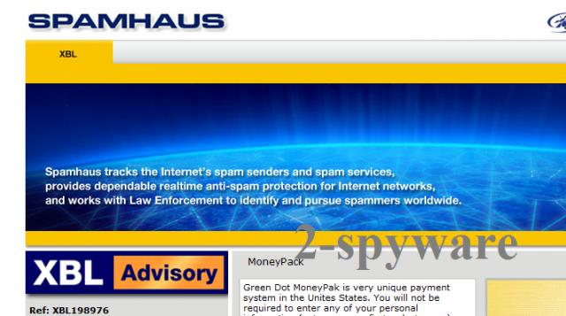 Spamhaus virus ekrano nuotrauka