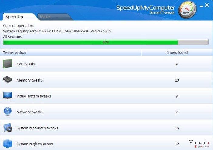 SpeedUpMyComputer ekrano nuotrauka