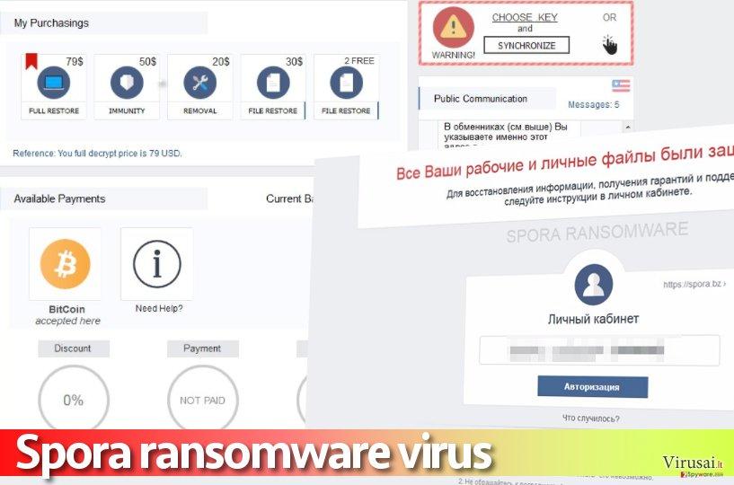 Spora viruso mokėjimo svetainės pavyzdys