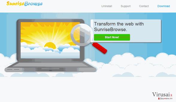 SunriseBrowse reklamos ekrano nuotrauka