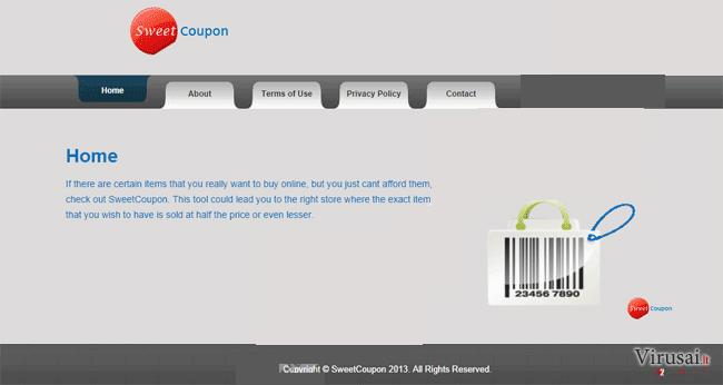 SweetCoupon reklamos ekrano nuotrauka
