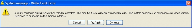 System message – Write Fault Error ekrano nuotrauka