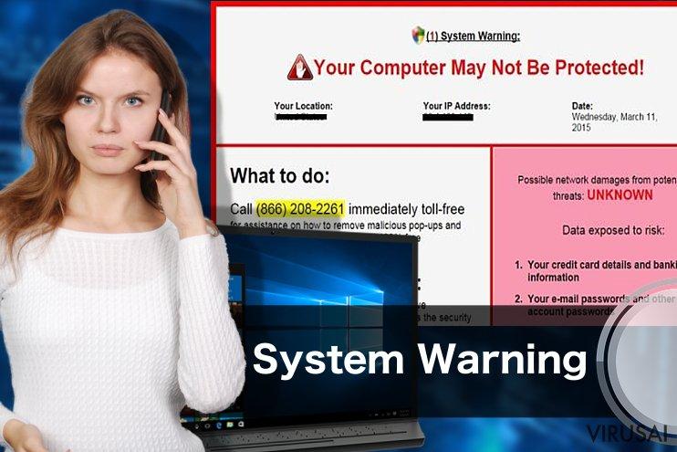 System Warning pranešimų pavyzdys