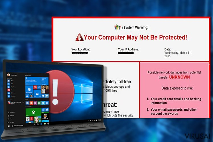 System Warning viruso pavyzdys