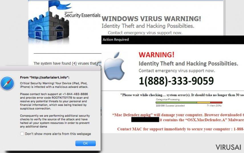 Techninės pagalbos virusas ekrano nuotrauka