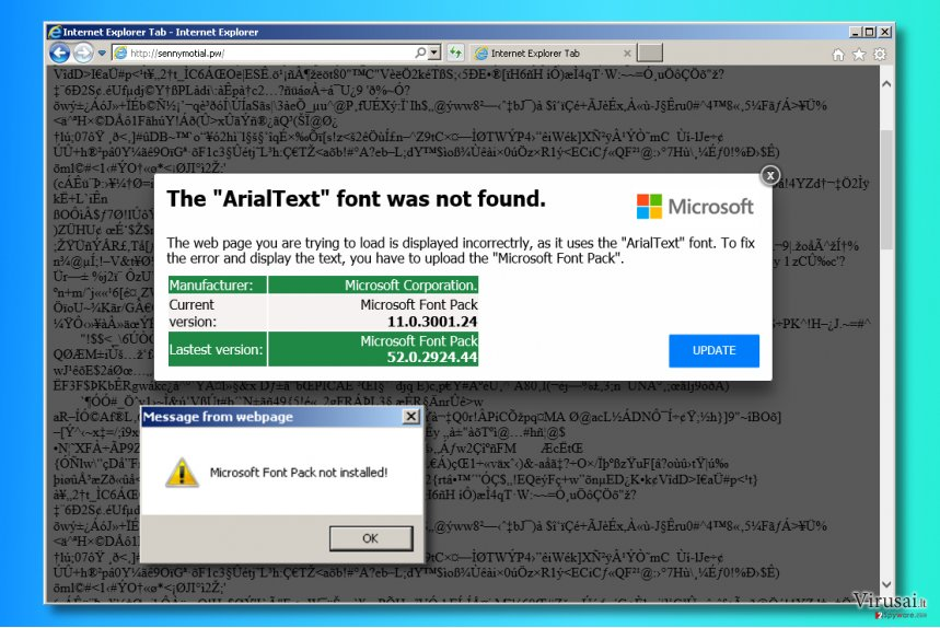 """The ArialText font was not found"" ads"