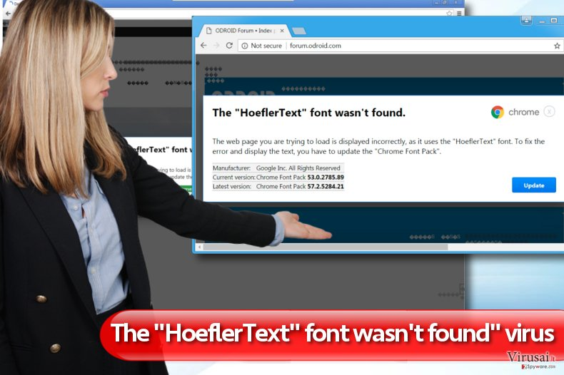"""The HoeflerText font wasn't found"" virusas"